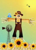 Scarecrow in autumn — Stock Photo