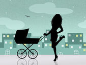 Mother with pram — Stock Photo