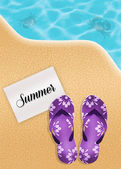 Flips-flops on the beach — Stock Photo