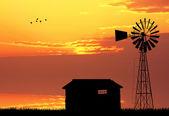 Farma při západu slunce — Stock fotografie