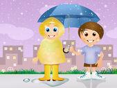 Children with umbrella — Stock Photo