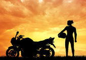 Woman motorcyclist — Stock Photo