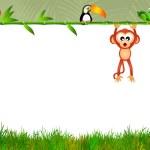 Monkey with blackboard bamboo — Stock Photo #44093701