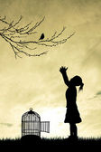 Little girl with birdcage — Stock Photo