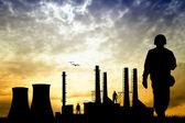 Fabrik-silhouette — Stockfoto