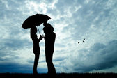 Couple in the rain — Foto Stock