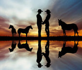 Lovers and horses — Stock Photo