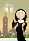 Nun in the church — Stock Photo