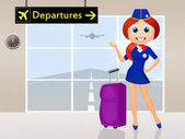 Stewardess in airport — Stock Photo