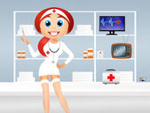 Sjuksköterska cartoon — Stockfoto
