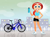 Girl on bike — Stockfoto