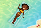 Black girl on airbed — Stock Photo