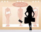 Woman go shopping — Stock Photo