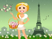 Girl with flowers in Paris — Stock Photo