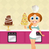 Woman cooking cakes — Stock Photo