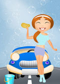 Sexy car wash — Stock Photo