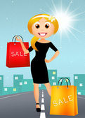 Woman go shopping — Stock Photo