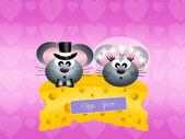 Mice on cheese — Stock Photo