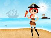 Mädchen-pirat — Stockfoto