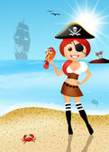 Girl pirate — Stock Photo