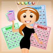 Girl with bingo cards — Stock Photo