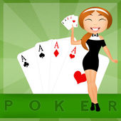 Girl with poker of aces — 图库照片