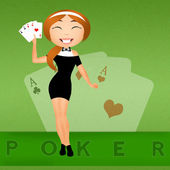 Girl with poker of aces — Stock Photo