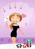 Girl with poker cards — 图库照片