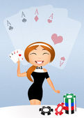Girl with poker cards — Stockfoto