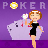 Girl with poker cards — Stock Photo