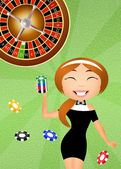 Girl croupier — Stockfoto