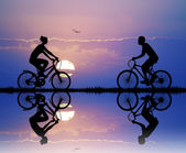 Family Cycling — Foto Stock