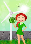 Girl with eco earth for ecology — Stock Photo