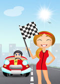 Girl with the checkered flag — Stock Photo
