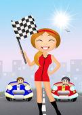 Dívka s šachovnicovou vlajkou — Stock fotografie