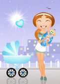 Mother with crib — Stock Photo