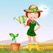 Girl does gardening — Stock Photo