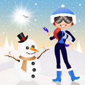 Girl making snowman — Stock Photo