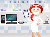 Girl in scientific laboratory — Stockfoto