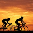 Cyclists at sunset — Stock Photo #49498953
