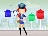 Girl postman — Stock Photo