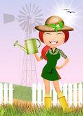 Girl in the farm — Stock fotografie