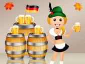 Birra di servire oktoberfest ragazza — Foto Stock