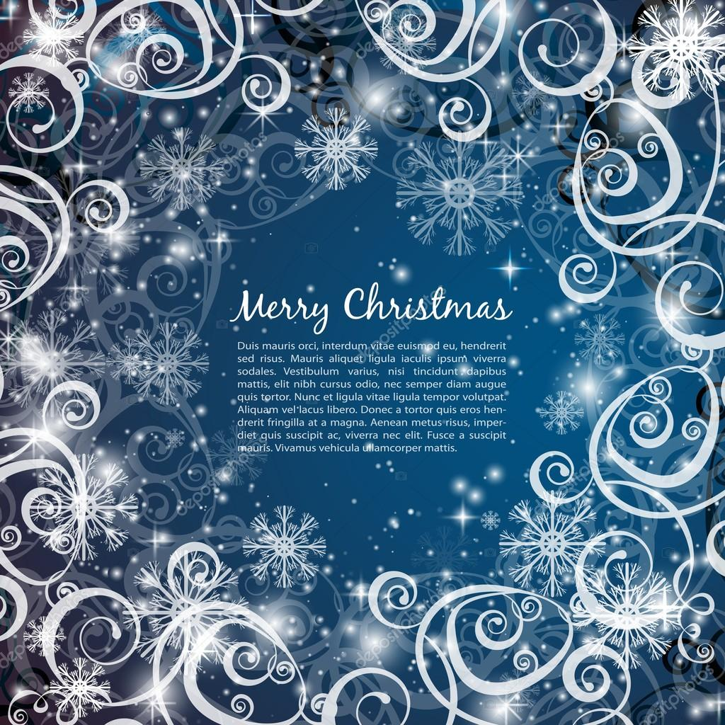 Elegant christmas blue background with snowflakes and lights — Stock Vector #14304851