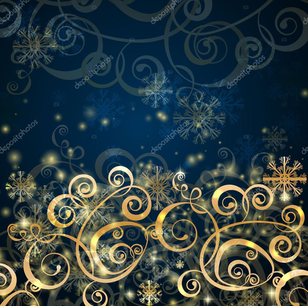 Elegant christmas dark blue with gold  background with snowflakes and lights — Stock Vector #14854617