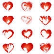 Set of red hearts. vector illustration — Stock Vector