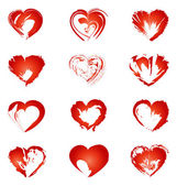 Set of red hearts. vector illustration — Stockvector