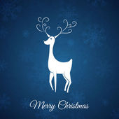 Blue christmas vykort whit jul rådjur. — Stockvektor