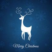 Veados natal whit de cartão-postal de natal de azul. — Vetorial Stock