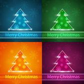 Neon Christmas tree — Stock Vector